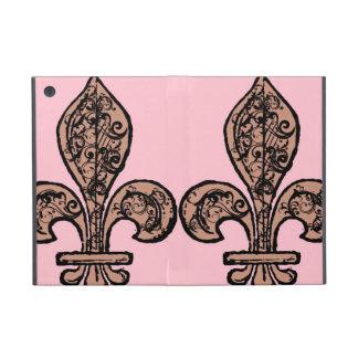 Flor de lis rosada del vintage iPad mini coberturas