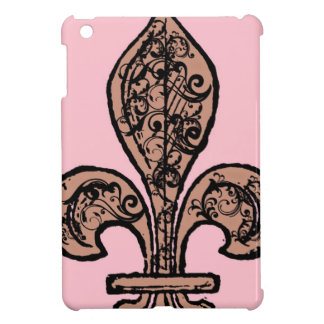 Flor de lis rosada del vintage iPad mini funda