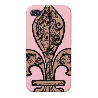 Flor de lis rosada del vintage iPhone 4/4S carcasas