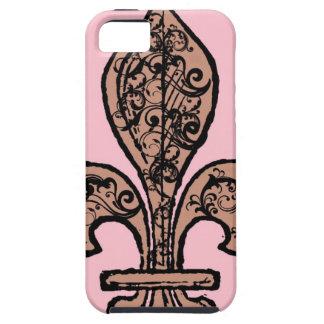 Flor de lis rosada del vintage iPhone 5 carcasas