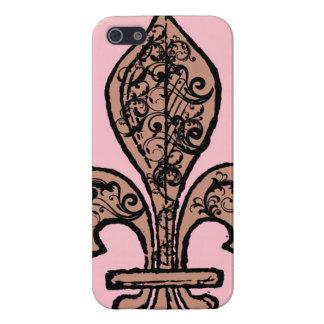 Flor de lis rosada del vintage iPhone 5 fundas
