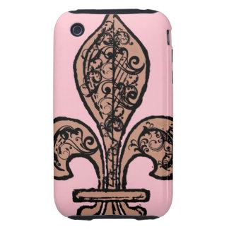 Flor de lis rosada del vintage tough iPhone 3 cárcasas