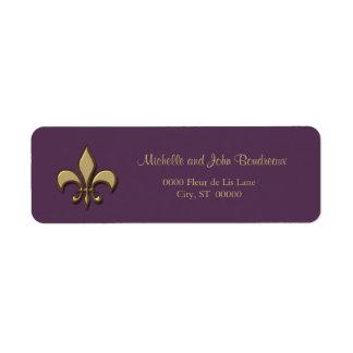Flor de lis simple de la púrpura del oro de la ele etiqueta de remite