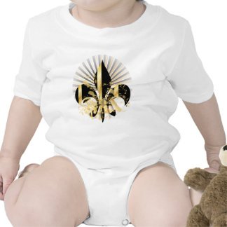 Flor de lis, texto adaptable traje de bebé