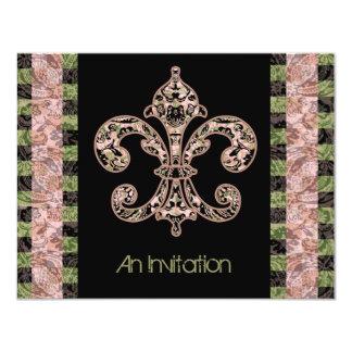 Flor de lis tribal del vudú invitación 10,8 x 13,9 cm
