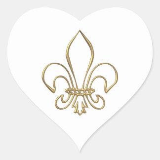 """Flor de lis """"tridimensional"""" de oro pegatina en forma de corazón"""
