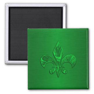 Flor de lis verde imán cuadrado