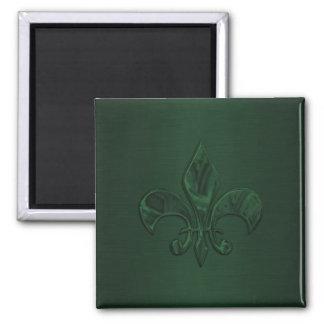 Flor de lis verde oscuro imán cuadrado