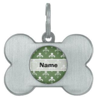 Flor de lis verde y blanca placas de nombre de mascota