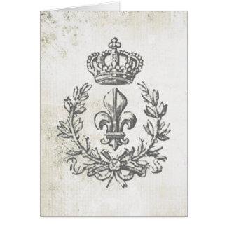 Flor de lis y Corona-notecard del vintage Tarjeta Pequeña