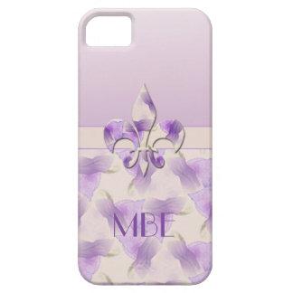 Flor de lis y violetas del monograma iPhone 5 Case-Mate protectores