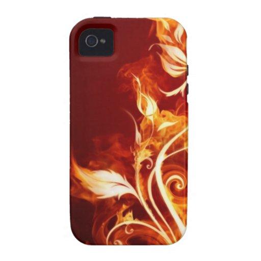Flor de llama 01 Case-Mate iPhone 4 fundas