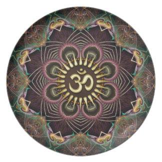 Flor de los fractales de la placa de oro del perso plato de cena