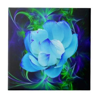 Flor de loto azul y su significado azulejo cuadrado pequeño