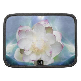 Flor de loto blanco en cristal azul organizadores