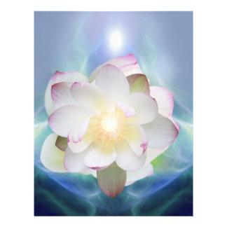 Flor de loto blanco en cristal azul membrete personalizado