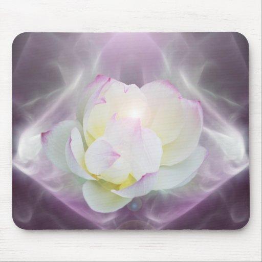 Flor de loto blanco mouse pad
