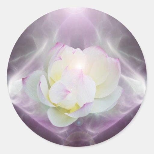 Flor de loto blanco pegatina redonda