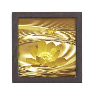 Flor de loto de oro caja de joyas de calidad