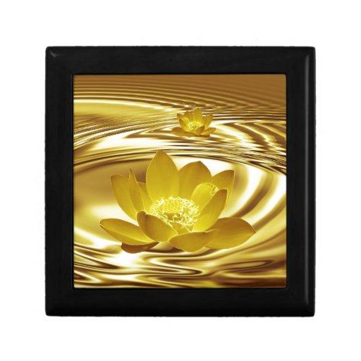 Flor de loto de oro caja de regalo