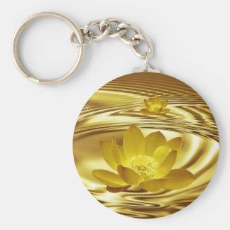 Flor de loto de oro llavero redondo tipo pin