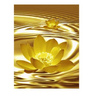 Flor de loto de oro plantilla de membrete