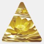 Flor de loto de oro pegatinas de trianguladas