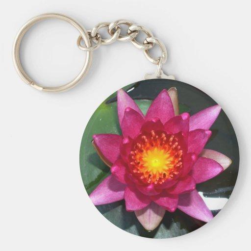 flor de loto llavero redondo tipo pin