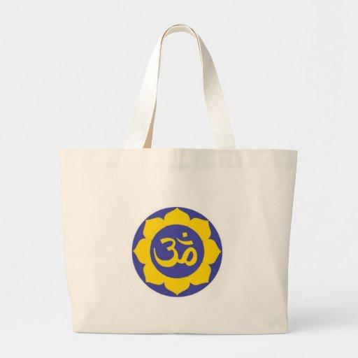 flor de loto - meditación del aum bolsa tela grande