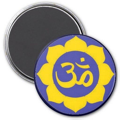 flor de loto - meditación del aum imán de frigorifico