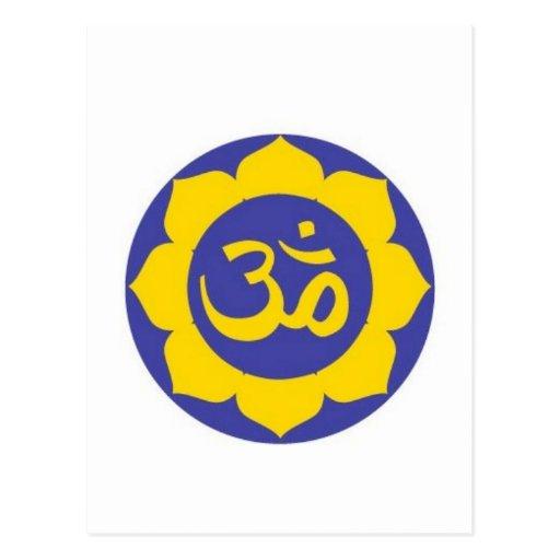 flor de loto - meditación del aum tarjeta postal