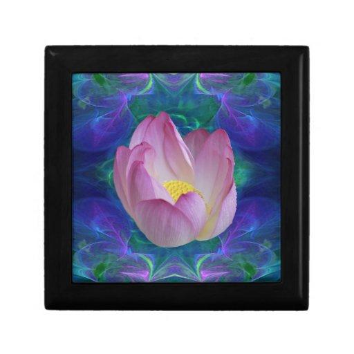Flor de loto rosada caja de recuerdo