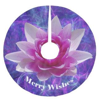 Flor de loto rosada falda para arbol de navidad de poliéster