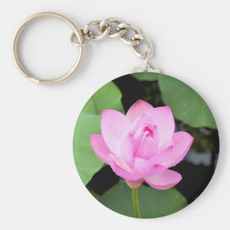 Flor de loto rosada llavero redondo tipo pin