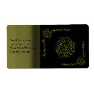 Flor de Lotus (alheña) (oro) Etiqueta De Envío