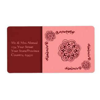 Flor de Lotus (alheña) (rojo) Etiqueta De Envío