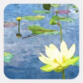 Flor de Lotus amarilla Calcomanías Cuadradases