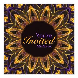 Flor de Lotus amarilla púrpura Invitación 13,3 Cm X 13,3cm