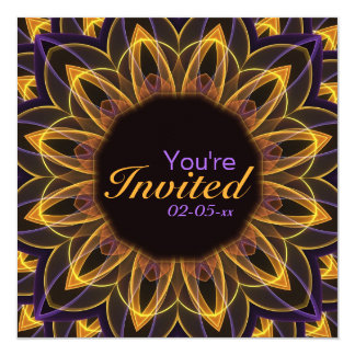 """Flor de Lotus amarilla púrpura Invitación 5.25"""" X 5.25"""""""