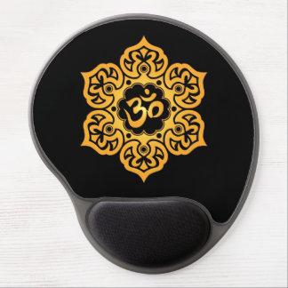 Flor de Lotus amarilla y negra OM Alfombrillas Con Gel