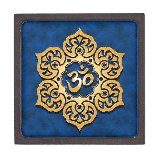 Flor de Lotus azul de oro OM Caja De Recuerdo De Calidad