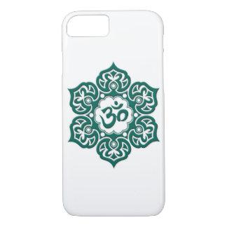 Flor de Lotus azul del trullo OM en blanco Funda iPhone 7