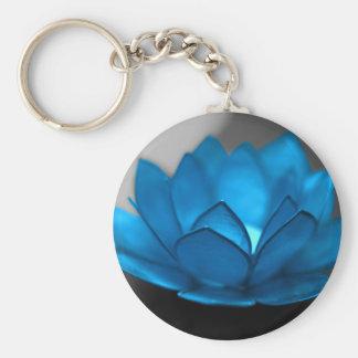 Flor de Lotus azul Llavero Redondo Tipo Pin