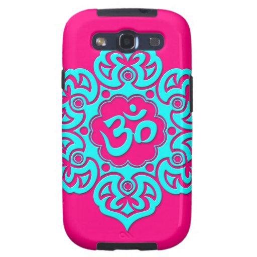 Flor de Lotus azul OM en rosa Galaxy S3 Carcasa