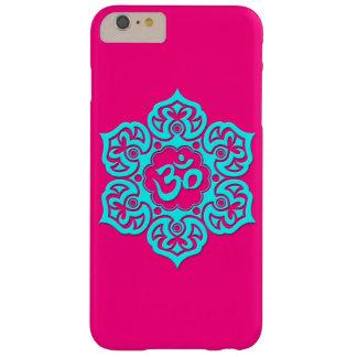 Flor de Lotus azul OM en rosa Funda Barely There iPhone 6 Plus