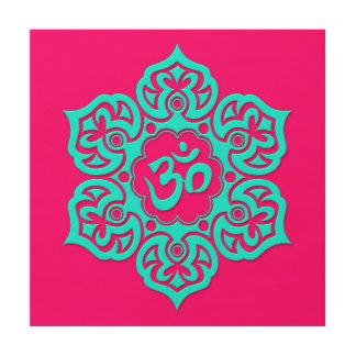 Flor de Lotus azul OM en rosa Impresiones En Madera