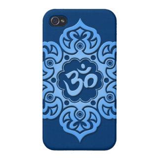 Flor de Lotus azul OM iPhone 4 Fundas