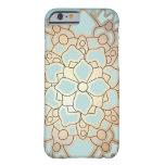 Flor de Lotus azul y falsa de la hoja de oro Funda Barely There iPhone 6