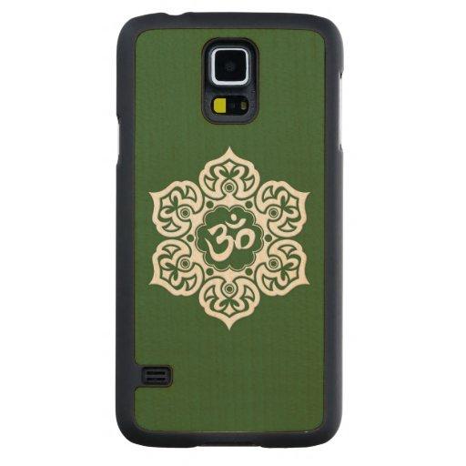Flor de Lotus blanco OM en verde Funda De Galaxy S5 Slim Arce