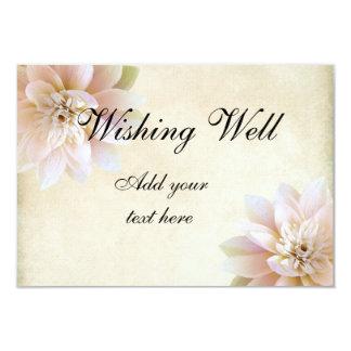 """Flor de Lotus blanco rosada que desea bien Invitación 3.5"""" X 5"""""""